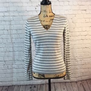 A Taylor Loft gray/white striped sweater